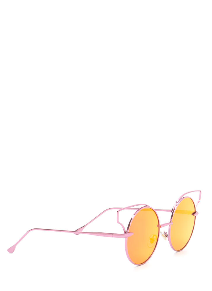 Round Of Silence Cut-Out Sunglasses PINK
