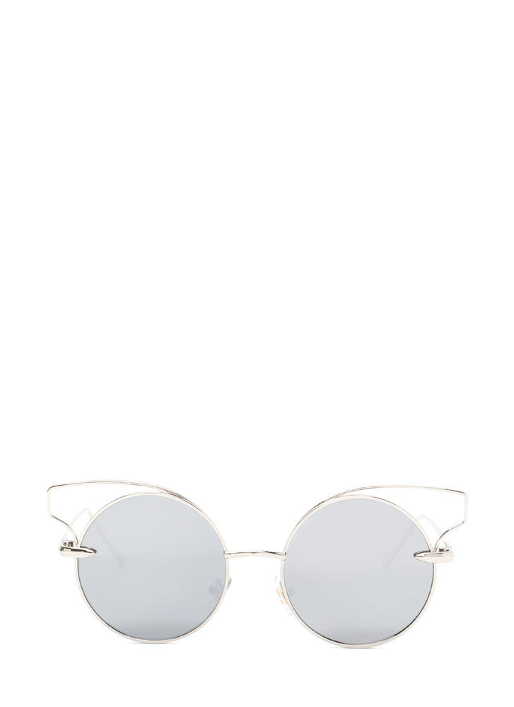 Round Of Silence Cut-Out Sunglasses SILVER