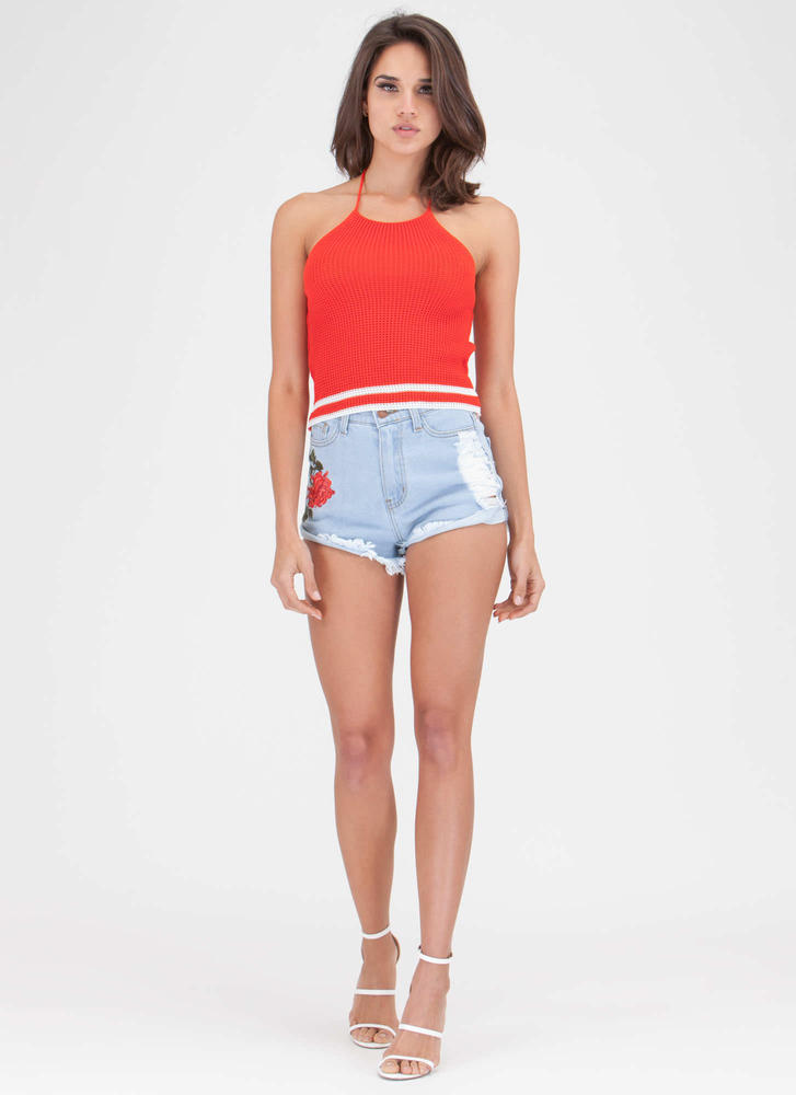 Anything Rose Cuffed Cut-Off Jean Shorts LTBLUE