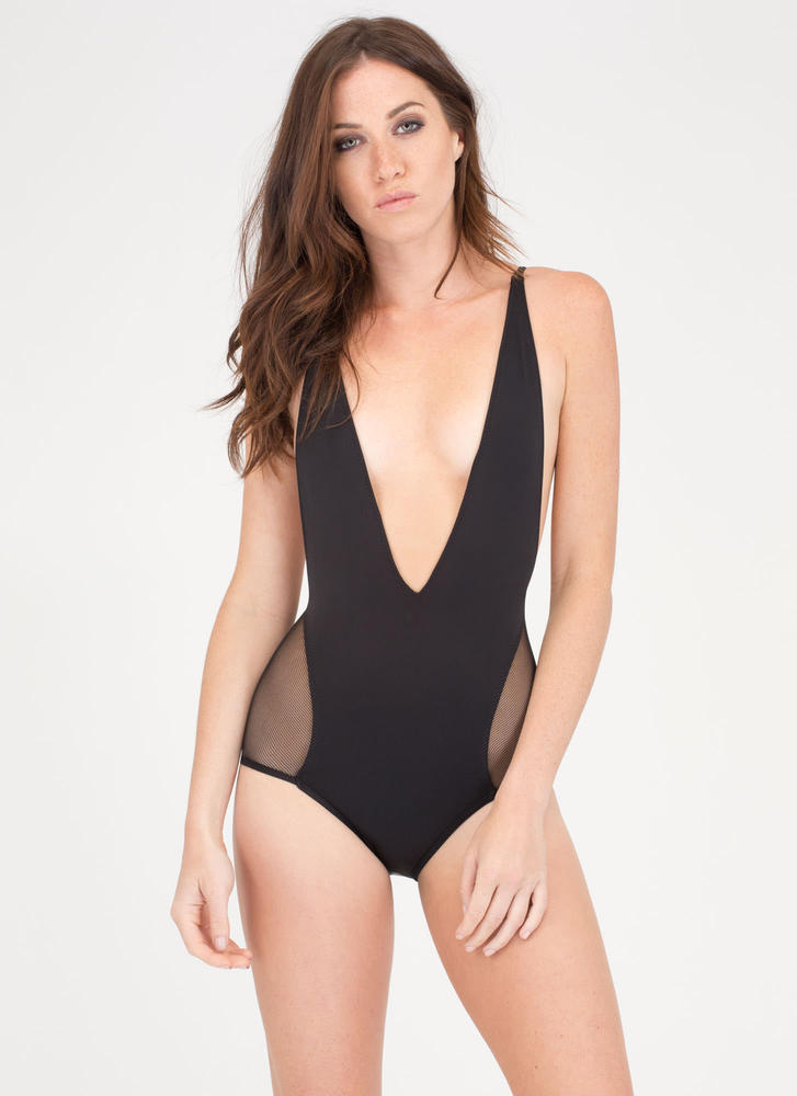 Take The Plunge Sheer Mesh Swimsuit