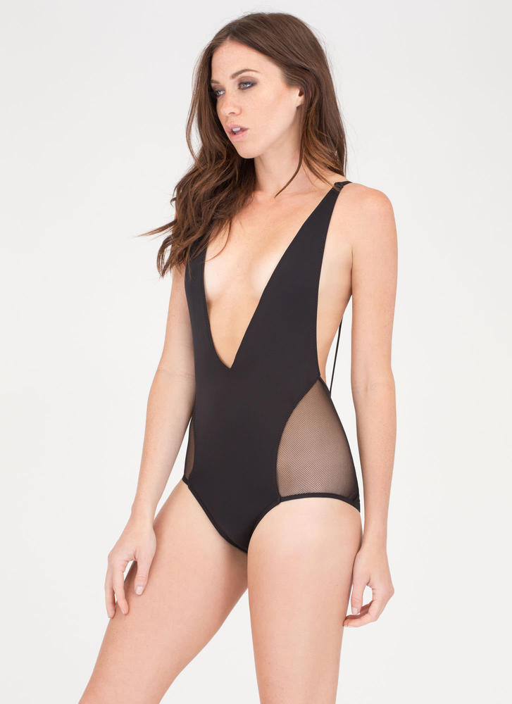 Take The Plunge Sheer Mesh Swimsuit BLACK (Final Sale)