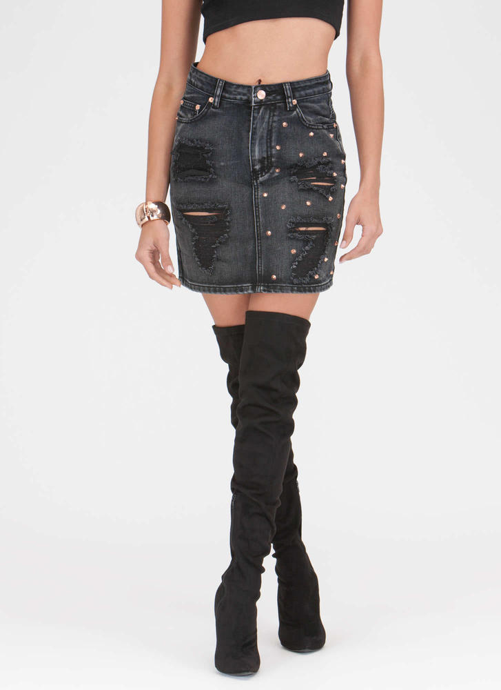 Studly Weapon Distressed Denim Skirt BLACK - GoJane.com