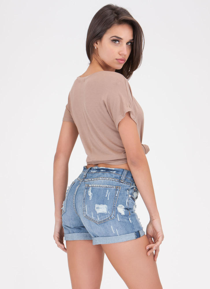 Sounds Distressing Cuffed Jean Shorts BLUE