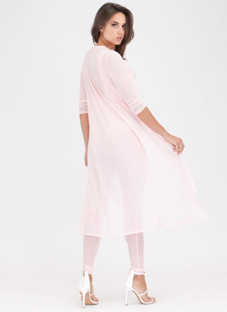 Let's Mesh Jumpsuit And Duster Set PINK