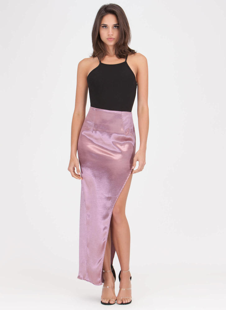 Smooth As Satin Cut-Out Slit Maxi Skirt