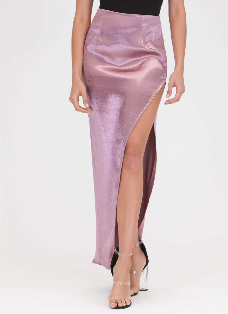 Smooth As Satin Cut-Out Slit Maxi Skirt PINK