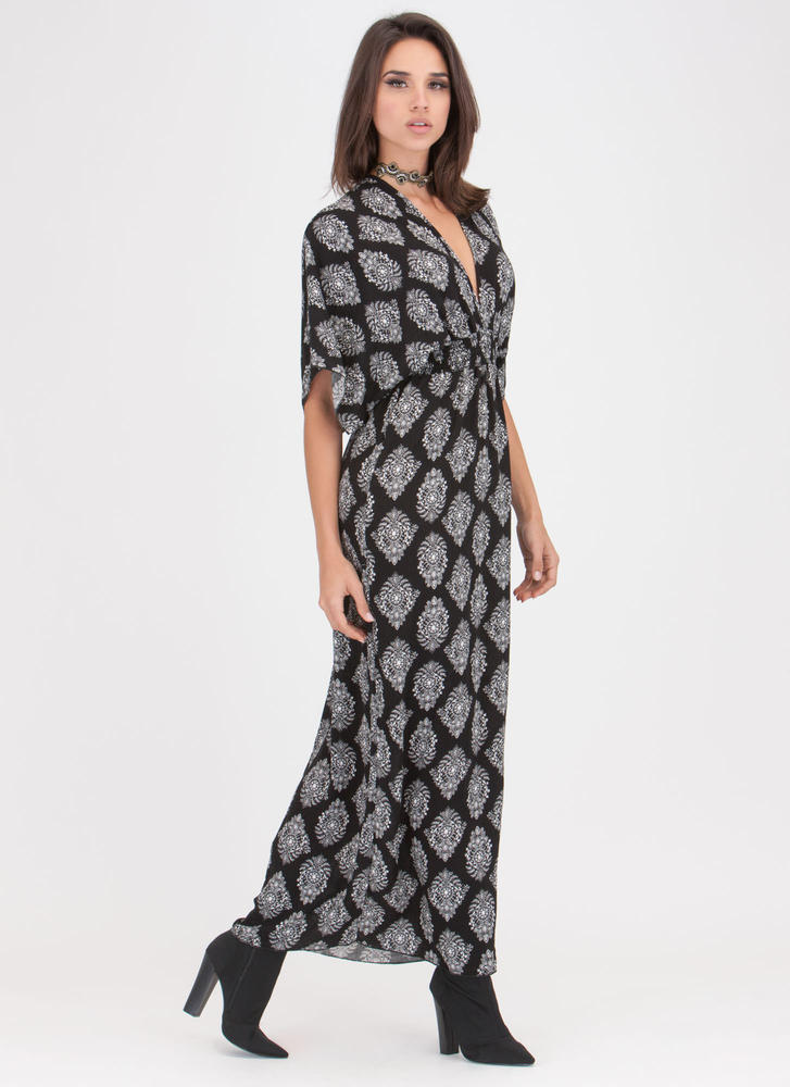 Chic Weekend Plunging Printed Maxi Dress BLACK