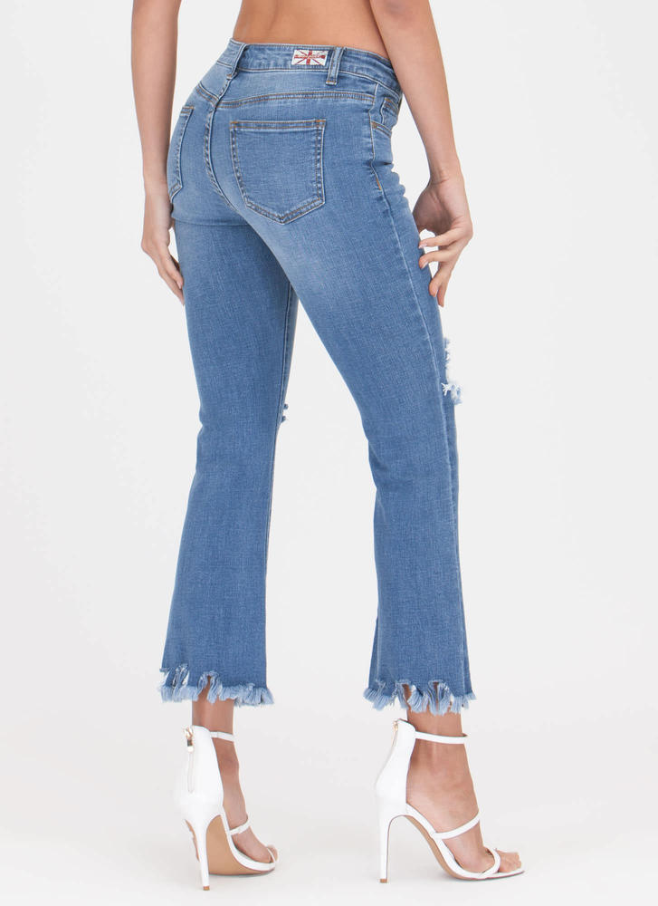 Lucky Fray Cropped Flared Jeans BLUE