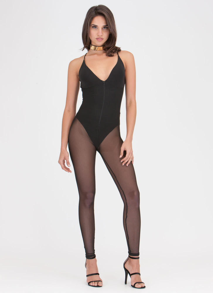 Mesh Together Zip-Up Bodysuit Jumpsuit
