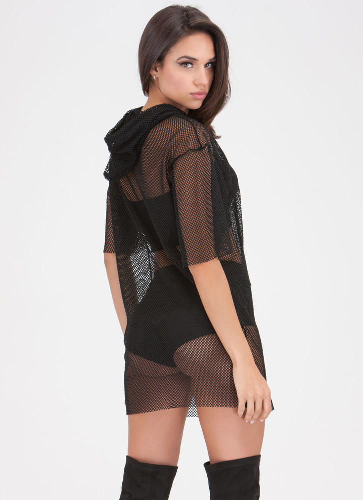 Caught In The Netted Hoodie Dress BLACK
