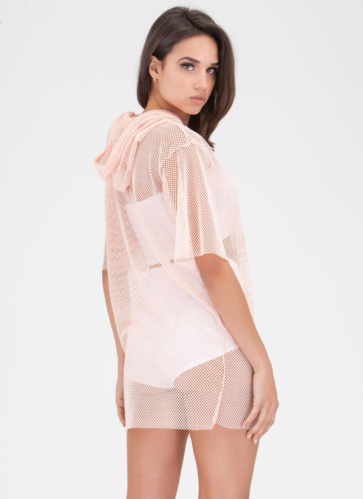 Caught In The Netted Hoodie Dress BLUSH