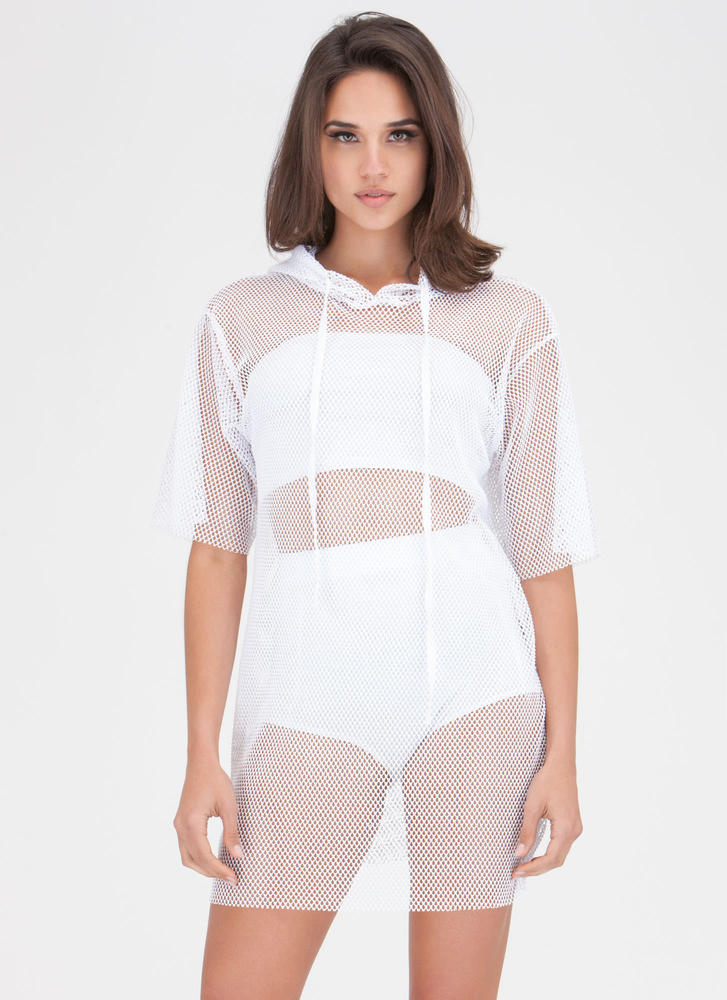 Caught In The Netted Hoodie Dress WHITE