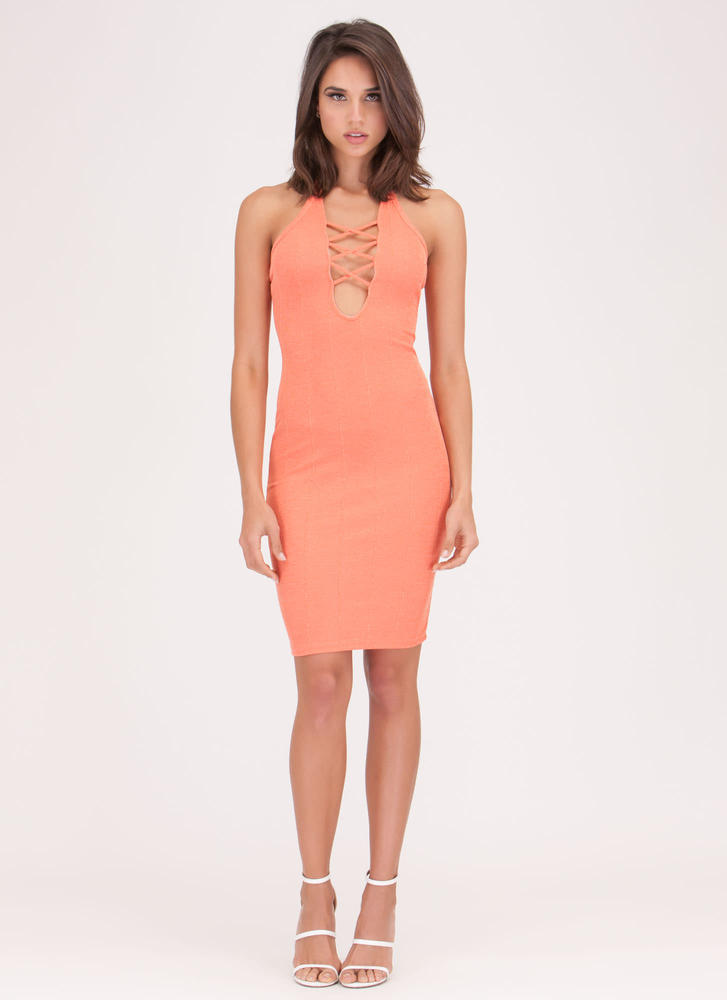 Crisscross Out Plunging Halter Dress