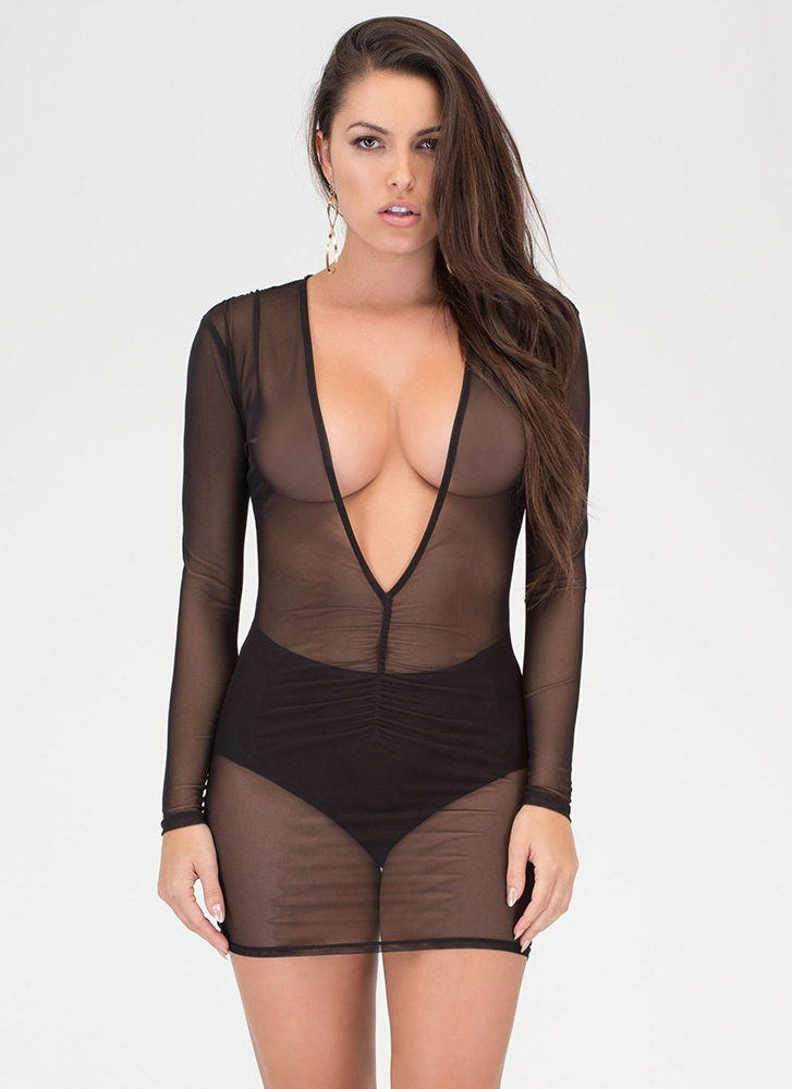 Ruche Hour Plunging Sheer Mesh Dress