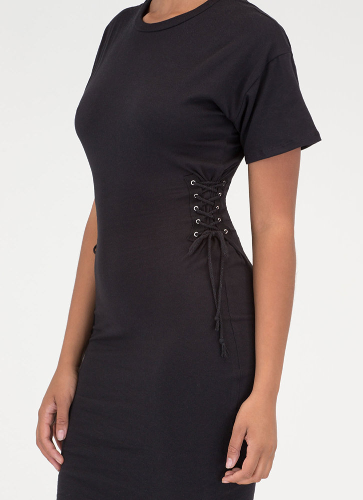Two On The Side Lace-Up Midi Dress BLACK