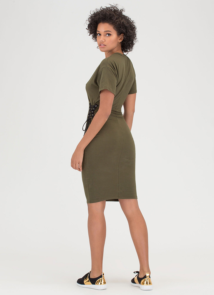Two On The Side Lace-Up Midi Dress OLIVE