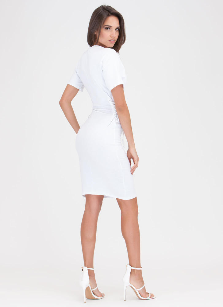 Two On The Side Lace-Up Midi Dress WHITE