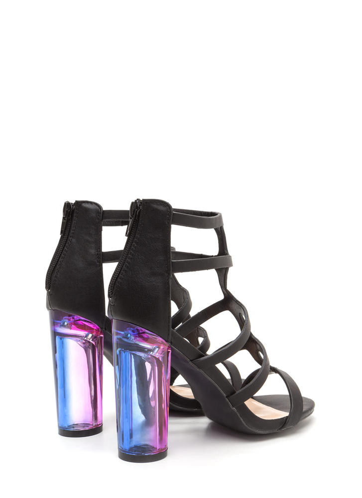 Clearly Winning Chunky Caged Ombre Heels BLACK