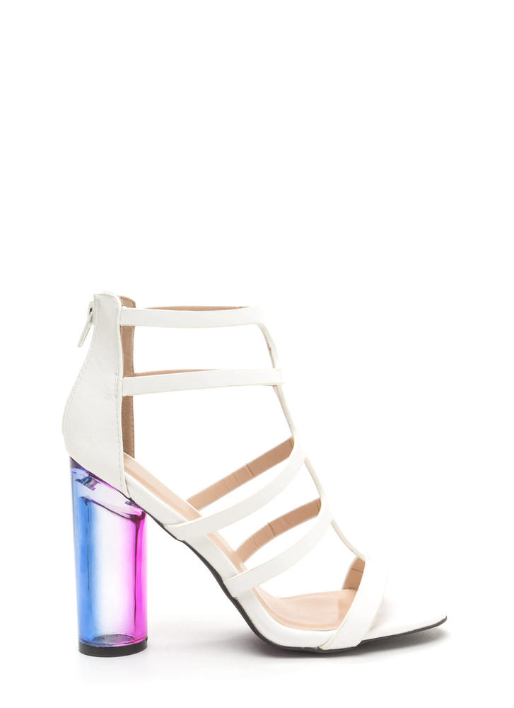 Clearly Winning Chunky Caged Ombre Heels WHITE