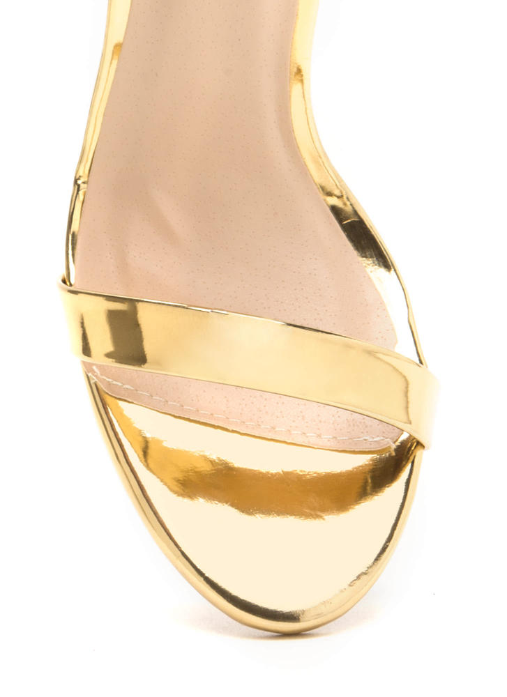 Gleaming Of You Strappy Metallic Heels GOLD