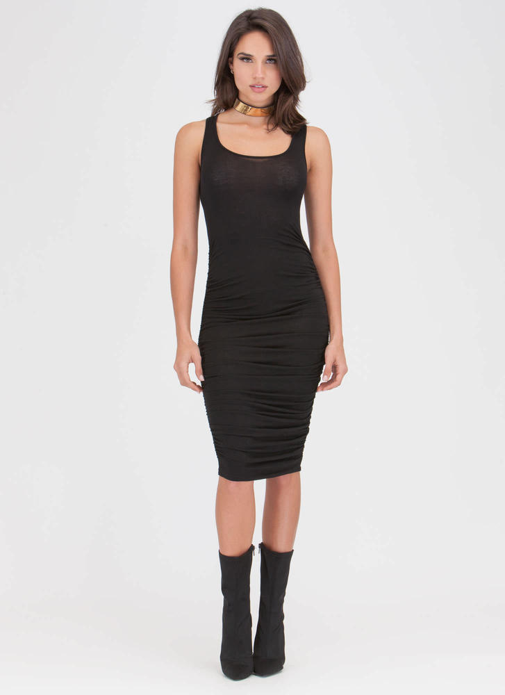Ruche Of Adrenaline Midi Dress BLACK