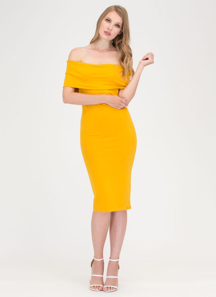 Paris Streets Off-Shoulder Midi Dress