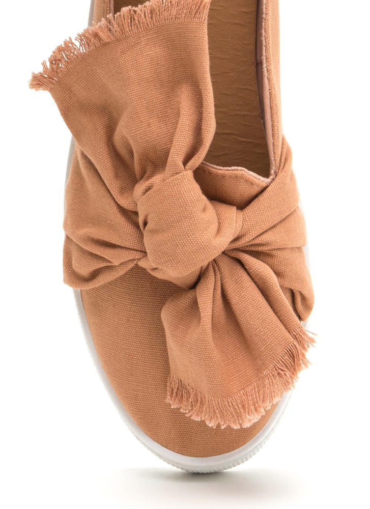 Tie It Together Canvas Slide Flats BLUSH