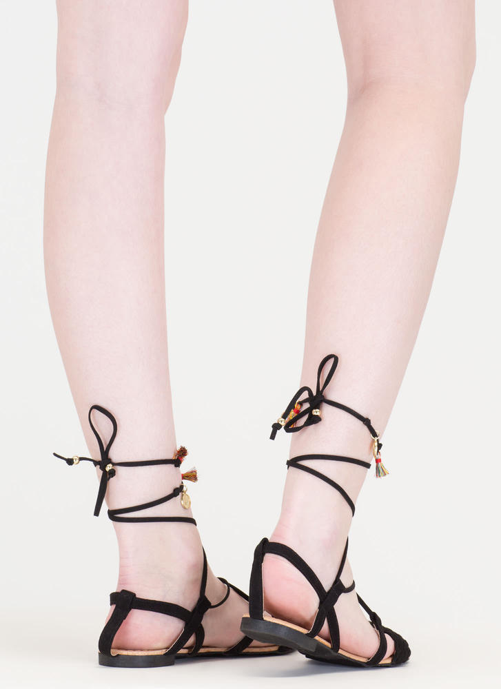 Charming View Lace-Up Gladiator Sandals BLACK