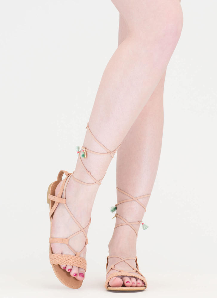 Charming View Lace-Up Gladiator Sandals BLUSH