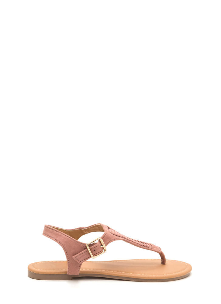 First Braid Faux Suede T-Strap Sandals