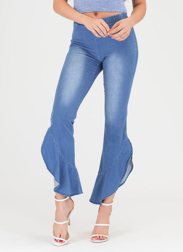 Retro Ruffles Chambray Bell-Bottoms LTBLUE