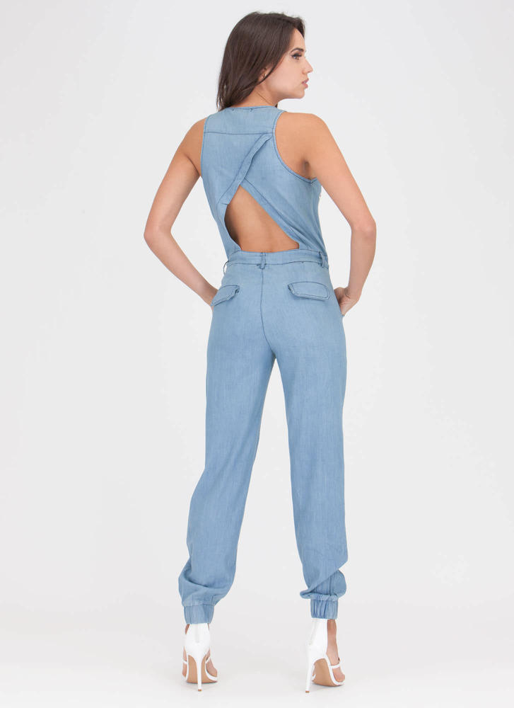 Good Sport Chambray Patch Jumpsuit LTBLUE