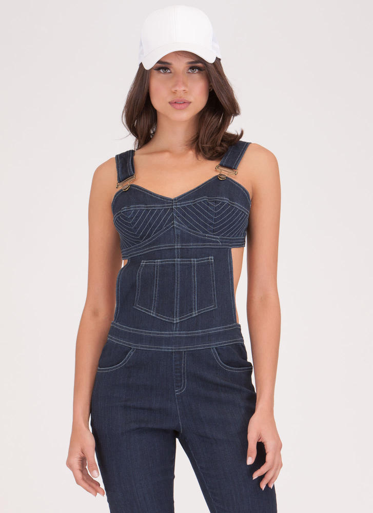 Style Overhaul Cut-Out Denim Overalls DKBLUE