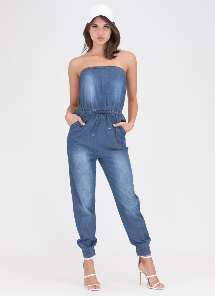 Beautiful Day Chambray Jogger Jumpsuit DKBLUE