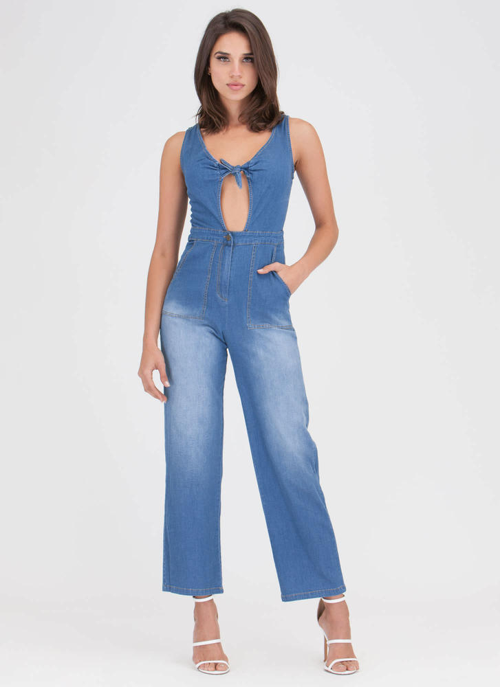 Knot A Chance Chambray Jumpsuit