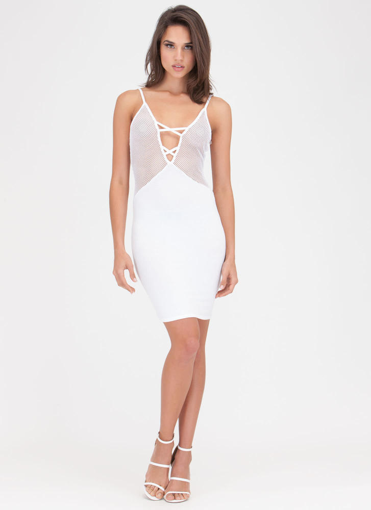 Surf The Net Plunging Sports Mesh Dress WHITE