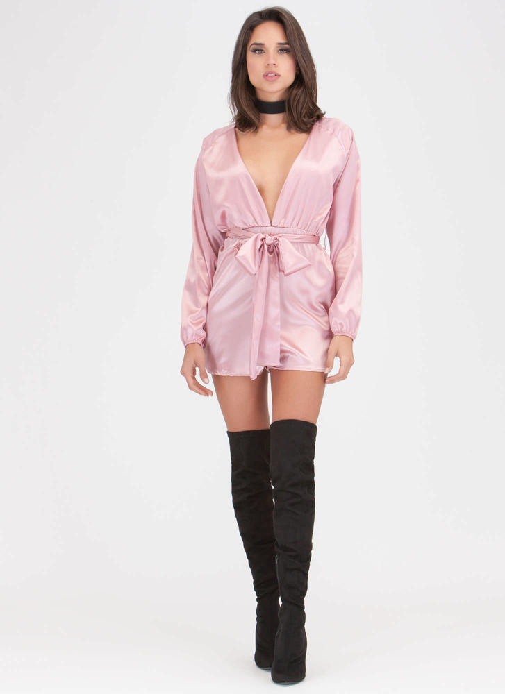Yours Truly Plunging Tied Satin Romper MAUVE