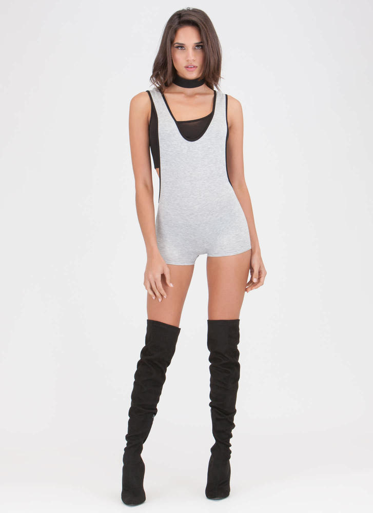 Score Sporty Luxe Layered Romper HGREY