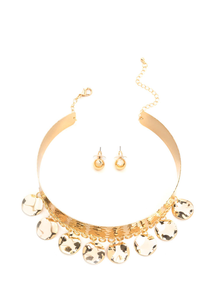 Organic Choice Textured Choker Set GOLD