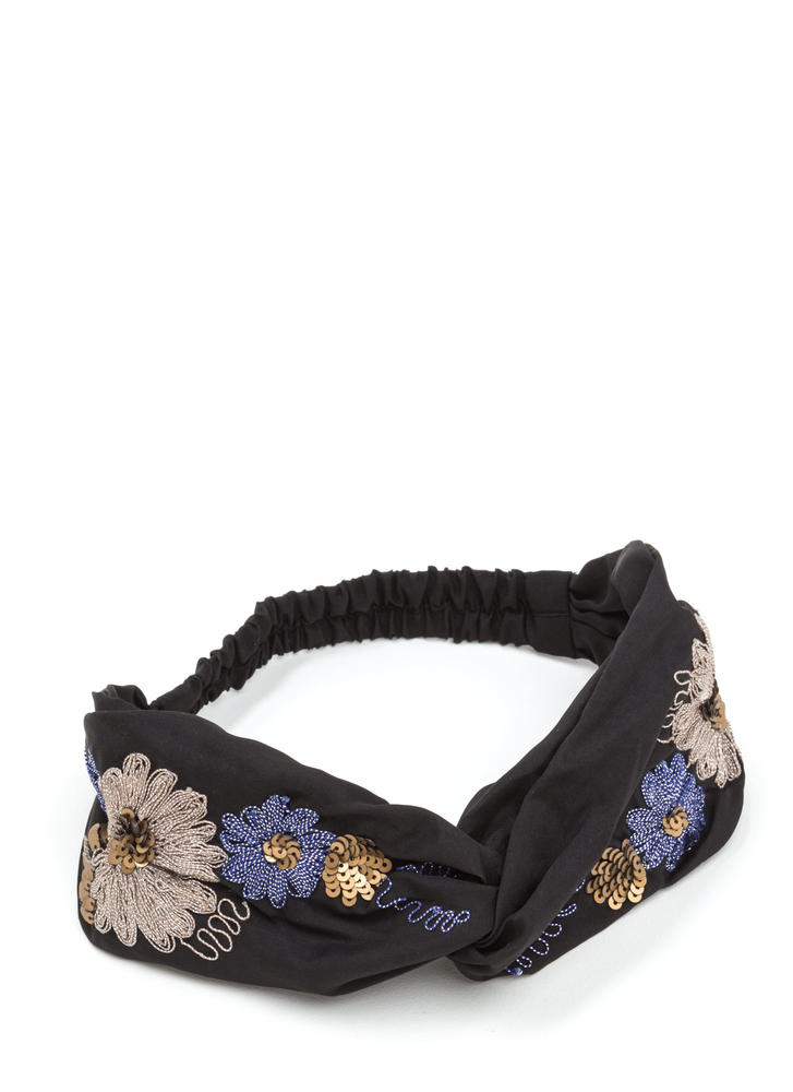 Fresh Bouquet Embroidered Twist Headband
