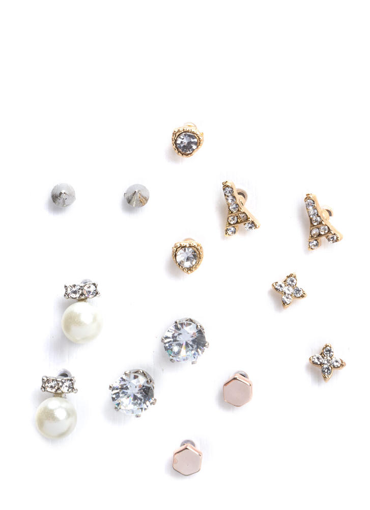 Lucky Seven Jeweled Stud Earring Set