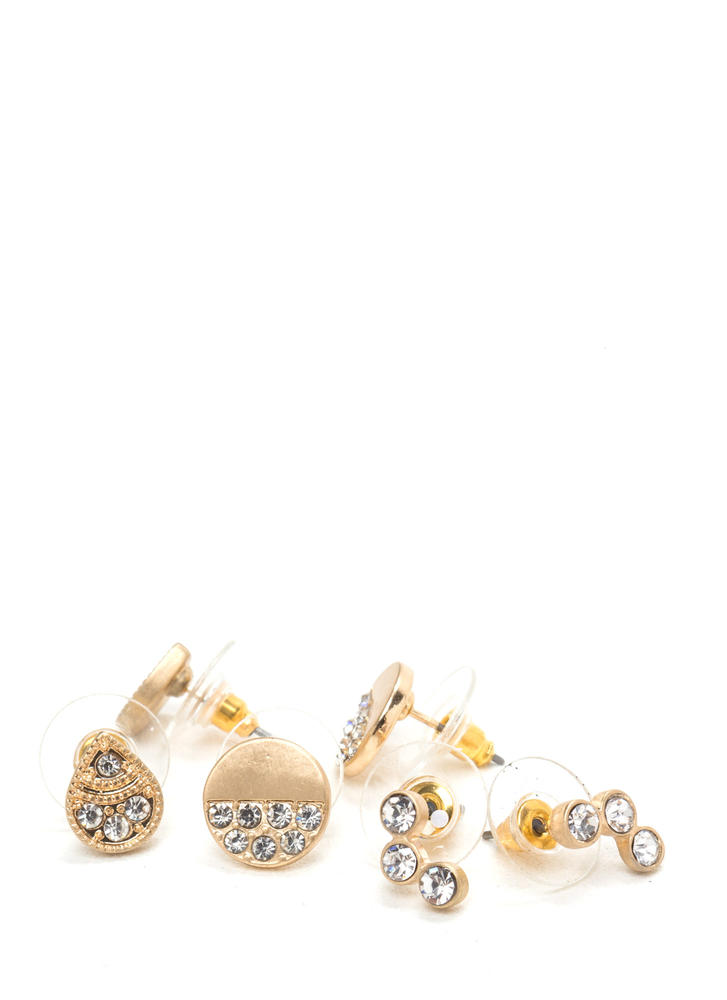 Modern Bling Shiny Earring Set GOLD