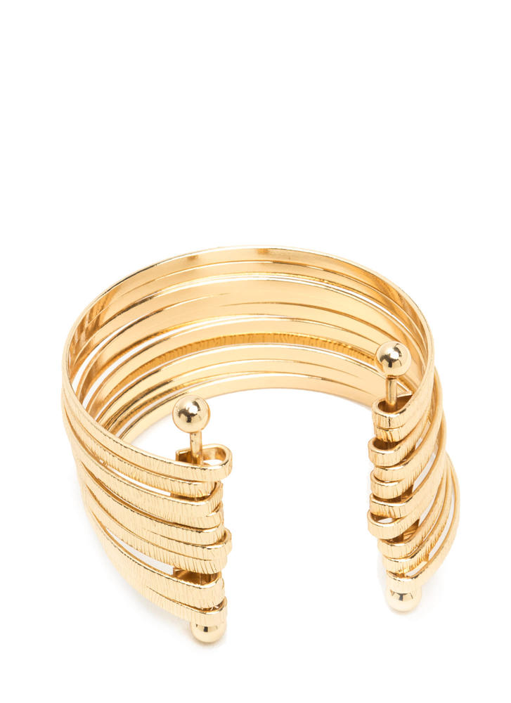 She's Stacked Brushed Cuff Bracelet GOLD