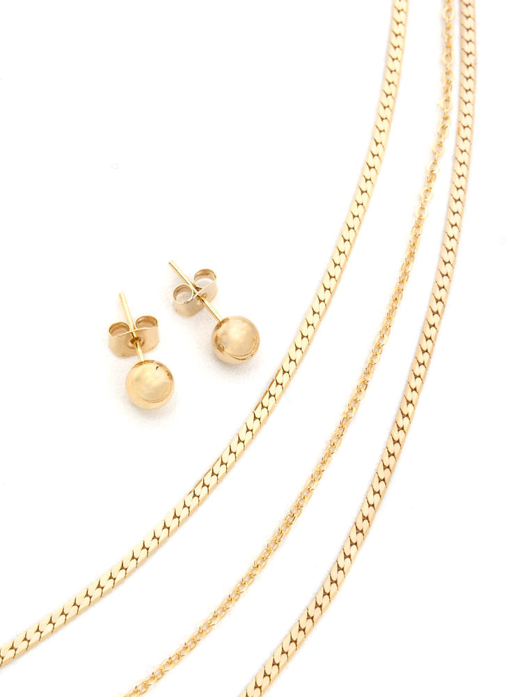 Infatuated Layered Chain Necklace Set GOLD