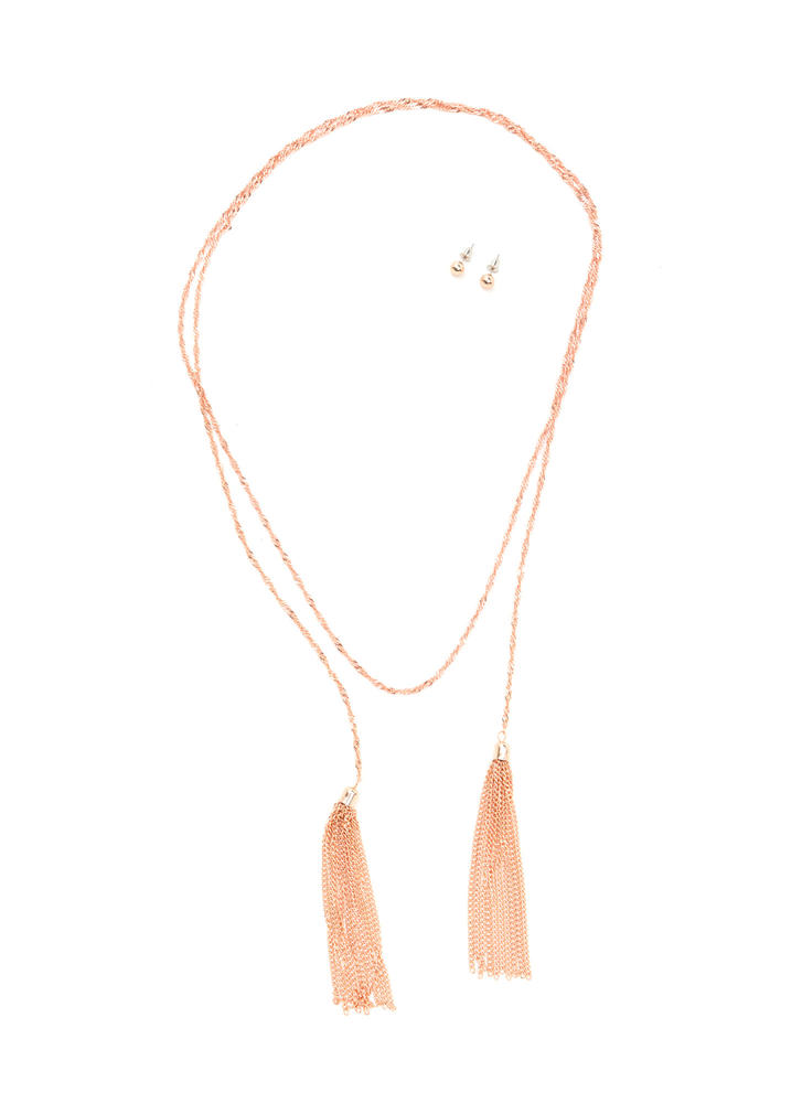 Two Perfect Tasseled Lariat Necklace Set ROSEGOLD