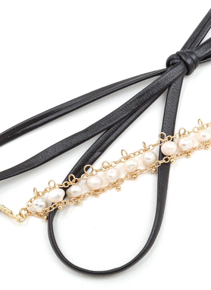 Pearls Of Wisdom Skinny Choker BLACKGOLD