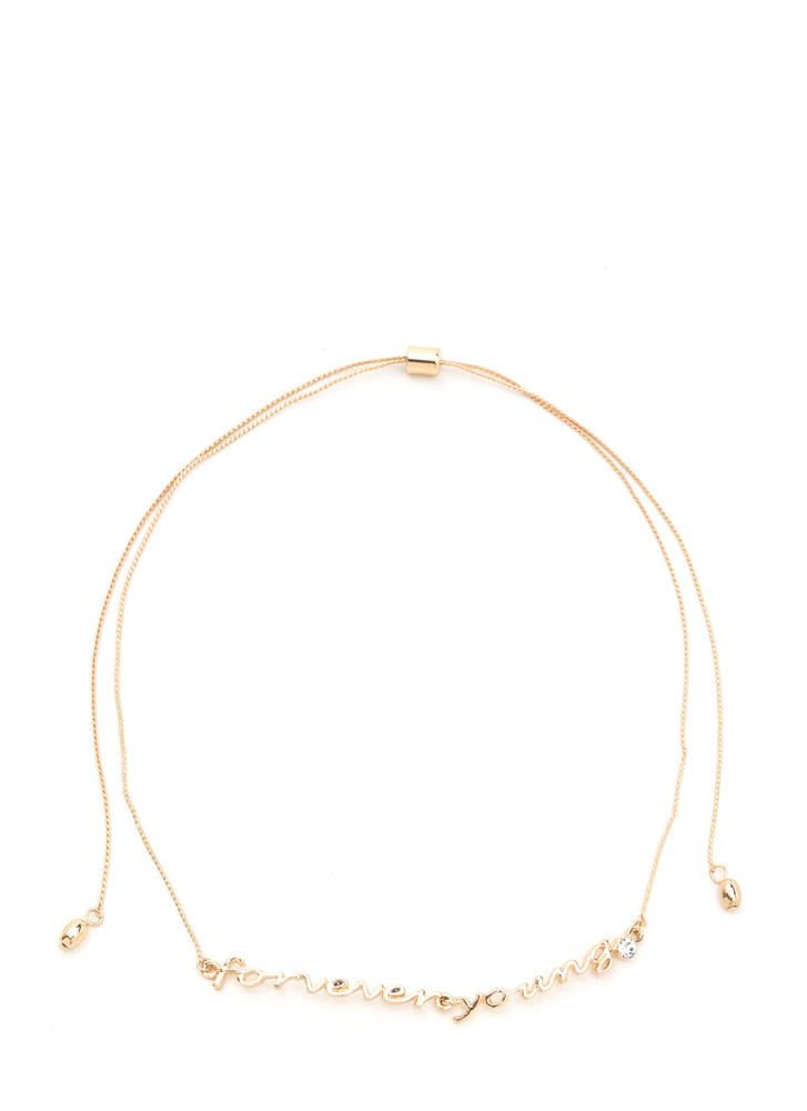 Forever Young Embellished Charm Necklace GOLD