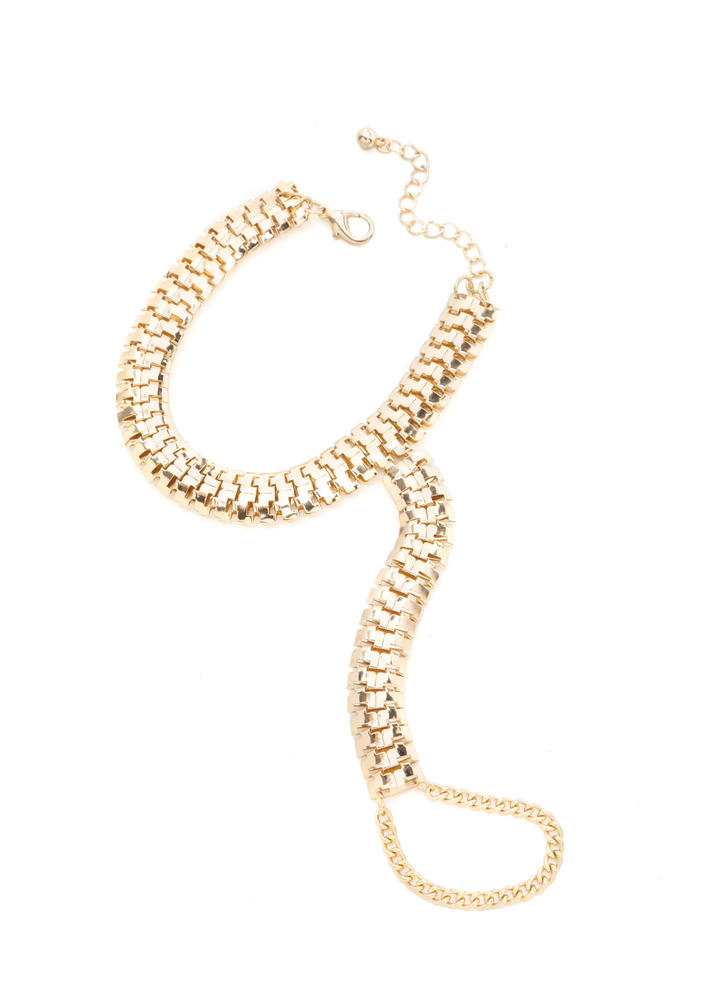 Perfect To A T-Strap Chain Anklet GOLD