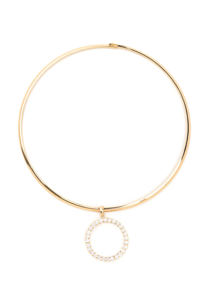 Hoop There It Is Sparkly Collar Necklace GOLD