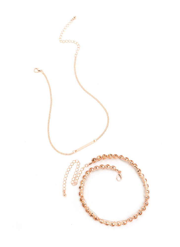 Double Trouble Sparkly Necklace Set ROSEGOLD